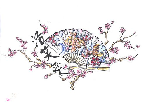 Chinese Fan Tattoo Design by Chris Hatch Tattoos and Stuff, via Flickr