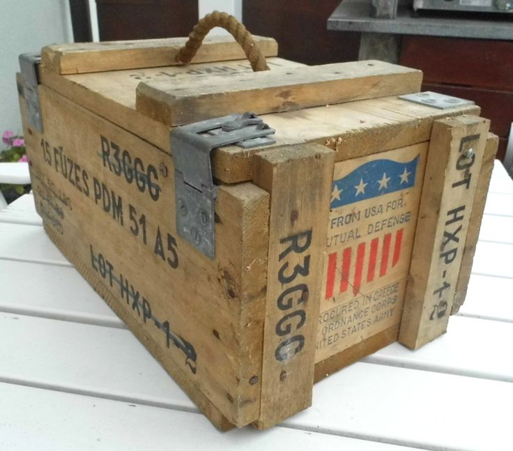 Vintage wooden ammunition ammo army tool box rustic crate for Old wooden box ideas