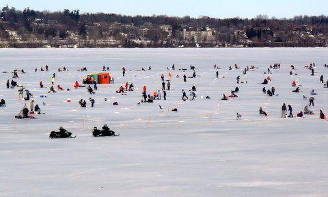 Ice Fishing on Kempenfeldt Bay, Barrie Ontario
