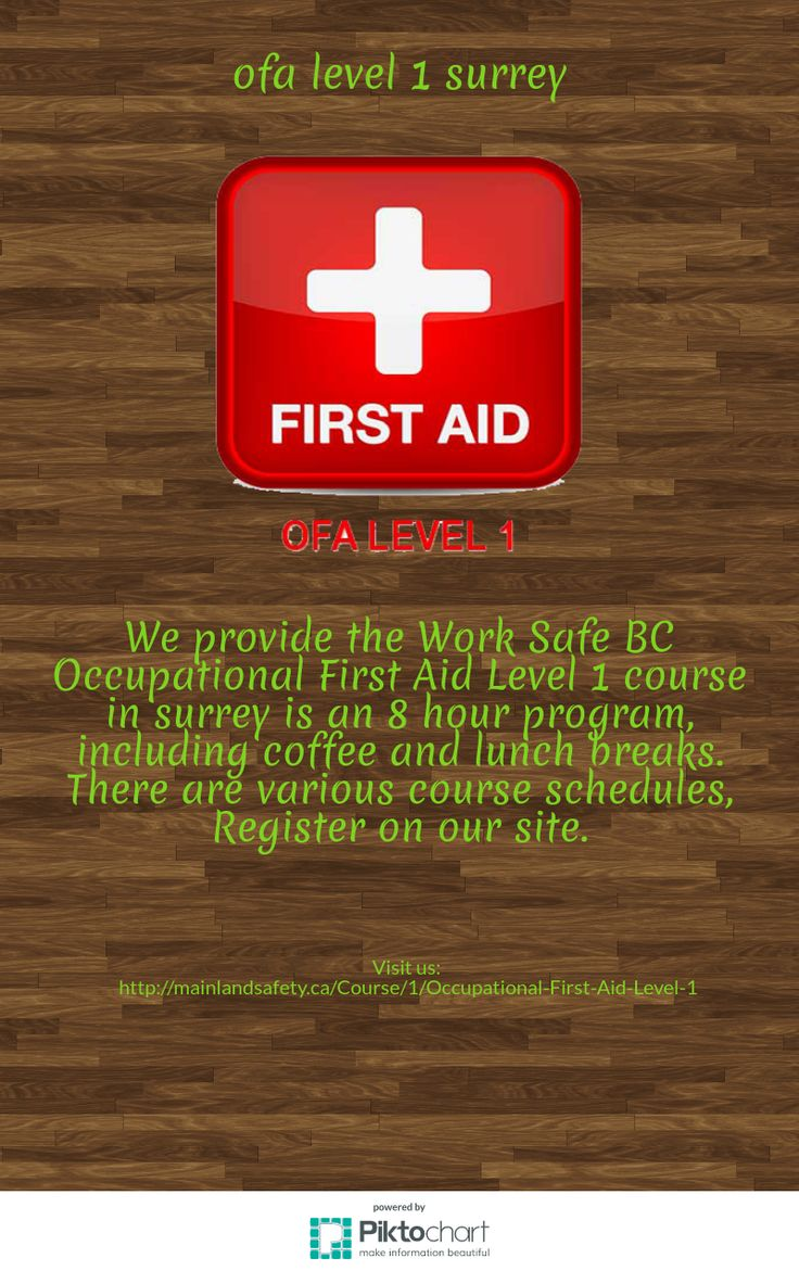 We provide the Work Safe BC Occupational First Aid Level 1 course is an 8 hour program, including coffee and lunch breaks. There are various course schedules, Register on our site. http://mainlandsafety.ca/Course/1/Occupational-First-Aid-Level-1