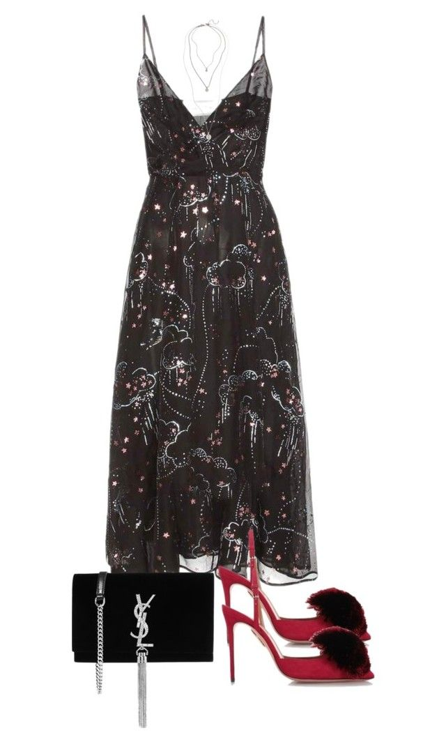 """""""Untitled #4783"""" by theeuropeancloset on Polyvore featuring Valentino, Aquazzura, Yves Saint Laurent and Treasure & Bond"""