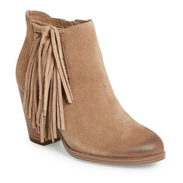 "Vince Camuto 'Harlin' Fringe Bootie, 3"" heel (£105) ❤ liked on Polyvore featuring shoes, boots, ankle booties, booties, ankle boots, wild mushroom suede, fringe cowgirl boots, suede fringe booties, western ankle boots and fringe booties"