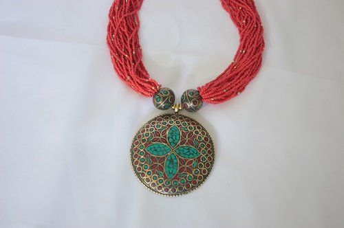 Tribal Mosaic Coral glass Beaded bone brass gypsy Multi-strand Ne | Fashion Women's Handmade Jewelry and Contemporary Accessories