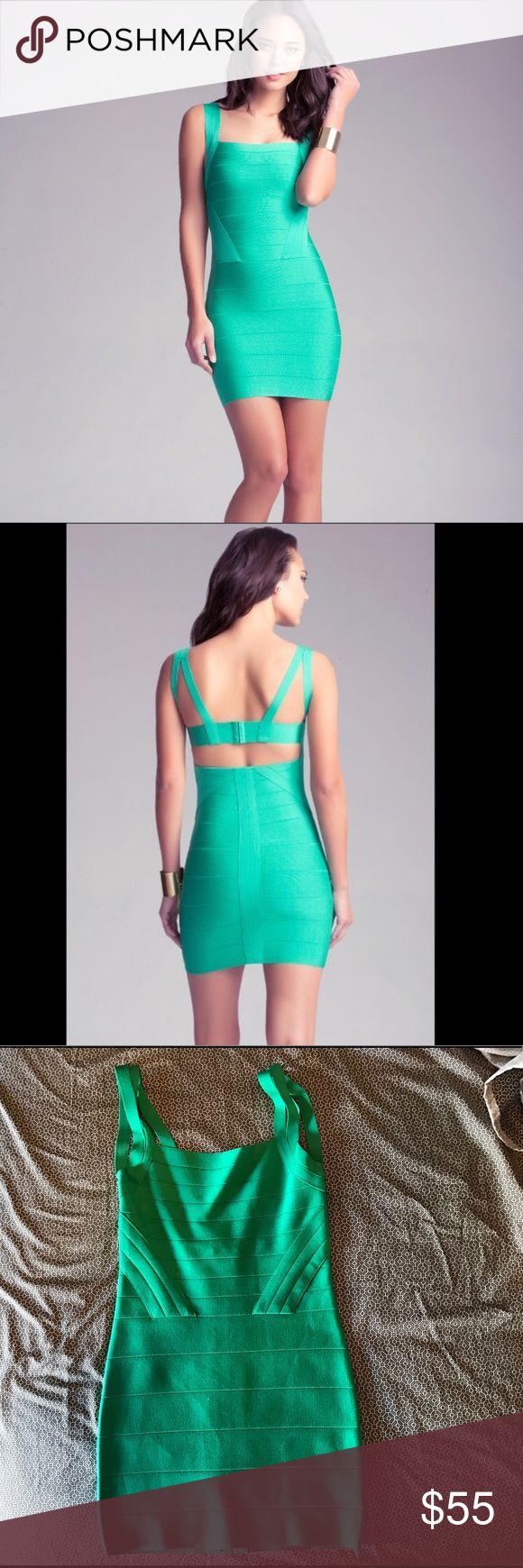 Bebe green bandage dress size medium So cute and in great condition. Bebe bandage dress in size medium bebe Dresses Mini