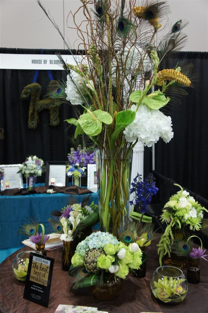 Peacock feather centerpiece at Bridal Show 2012