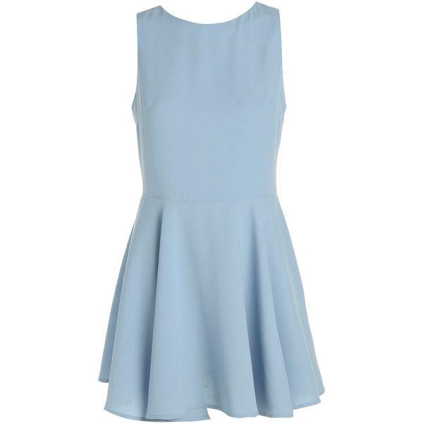 Light Blue Skater Dress (555 ARS) ❤ liked on Polyvore featuring dresses, blue, skater dress, blue pleated dress, blue skater skirt, flared skirt and scoop neck dress