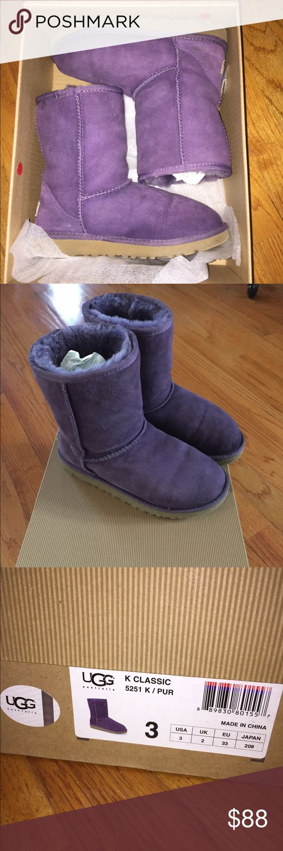 authentic ugg purple classic boots medium shaft 5 Purchased at ugg store, gently worn and not in snow. Well taken care of and before I store it away, cleaned with ugg care kit. In very good condition as you can see. It is a youth size 3. I usually wear a 5 in ugg women and these fit perfectly fine with normal sport socks. Always worn with socks. No major toe crying and when stored, I stuff then to keep shape. no stains that I can see and no tear or loose threads. UGG Shoes Winter & Rain…