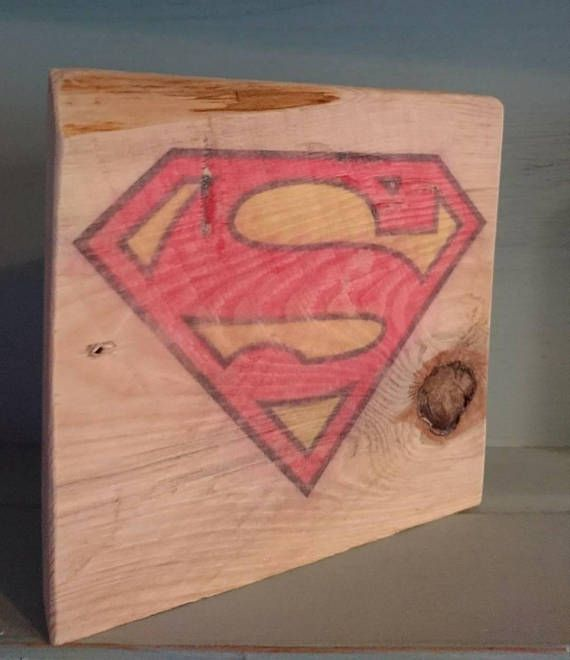Superman symbol wooden ornament upcycled and aged wood block.