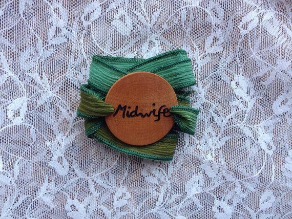 Essential Oil Diffuser Bracelet, Wood Essential Oil Bracelet, Midwife Silk Wrap Bracelet, Midwife Gift, Midwife Bracelet, Midwife Gifts