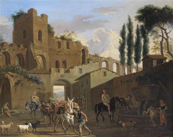 jacob de heusch Riders and washerwomen at a fountain before a ruined Roman aqueduct