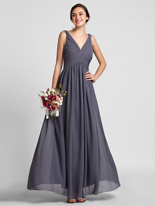 Lanting Floor-length Chiffon Bridesmaid Dress - Gray Plus Sizes / Petite Sheath/Column V-neck - USD $79.99