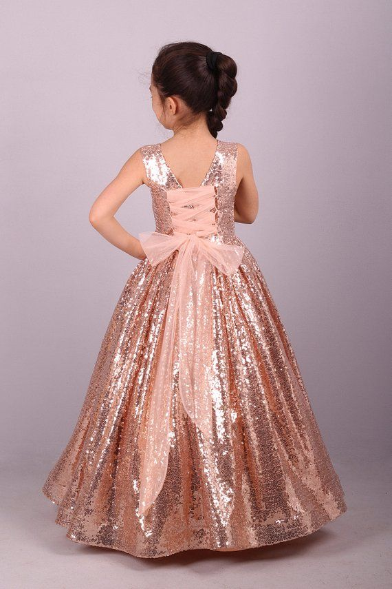 61d5bdab26c55 Blush Gold Rose Sequin Dress /Adult Sizes are Possible!/ Flower Girl ...