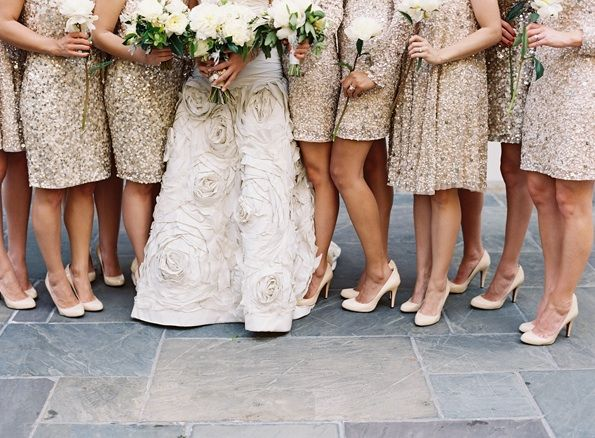 New Orleans wedding, with the bride in Bijou: New Orleans, Gold Bridesmaids, Wedding Ideas, Sparkly Bridesmaid Dresses, Black Ties Wedding, Bridesmaiddress, Sequins Bridesmaid Dresses, Gold Bridesmaid Dresses, Gold Dress