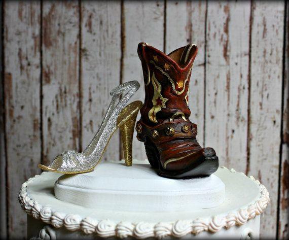 City Girl Cowboy Wedding Cake Topper