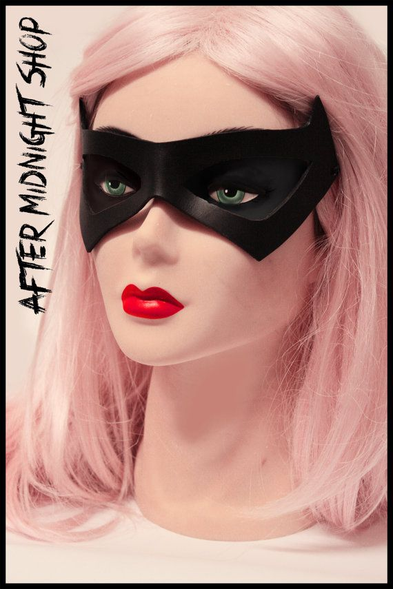 Nightwing Black Cat superhero leather black mask cosplay comicon costume batman robin batgirl bandit villain masquerade fetish halloween by AfterMidnightShop