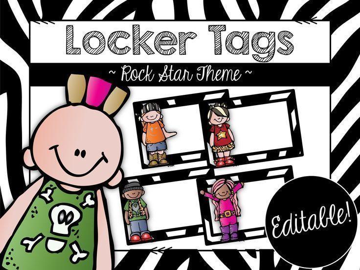 Back to school--rock star themed locker tags