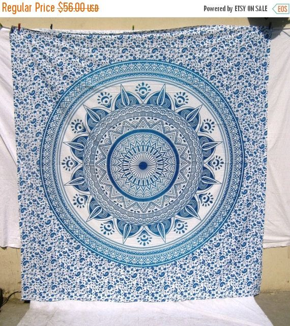 50%OFF Blue Ombre Mandala Tapestry Bohemian by mihirgemsandcraft