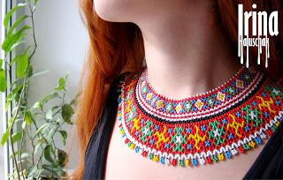 Sead bead necklace, beading, beadworks, folk jewelry, national necklace, swastika, Ukraine, http://irina-haluschak.blogspot.com/