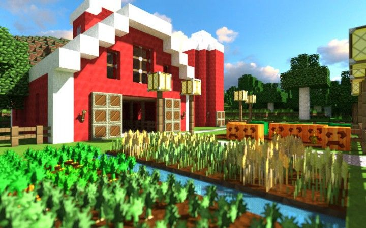 Minecraft Farm - never thought to put the doors to the edge like that....                                                                                                                                                     More