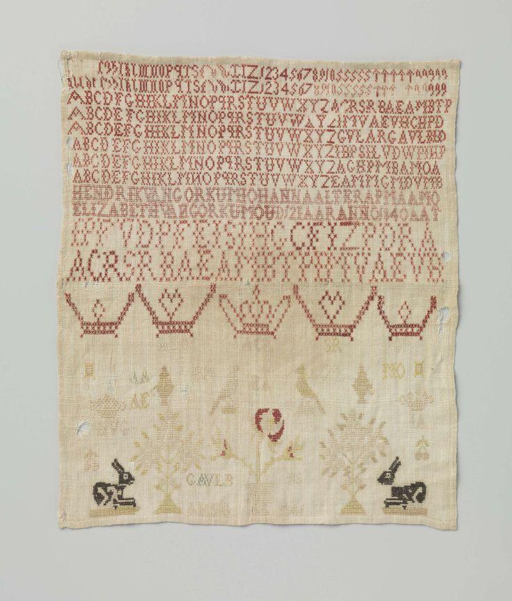 Dutch linen sampler with silk thread, Amsterdam, ca. 1840. | Rijksmuseum