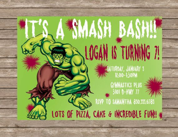 Incredible Hulk Boys Birthday Party Invitation