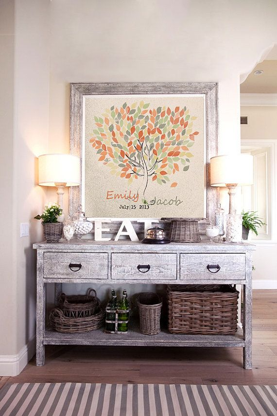 Wedding Guestbook watercolor tree on canvas 200 by LovaluDesign, €85.00