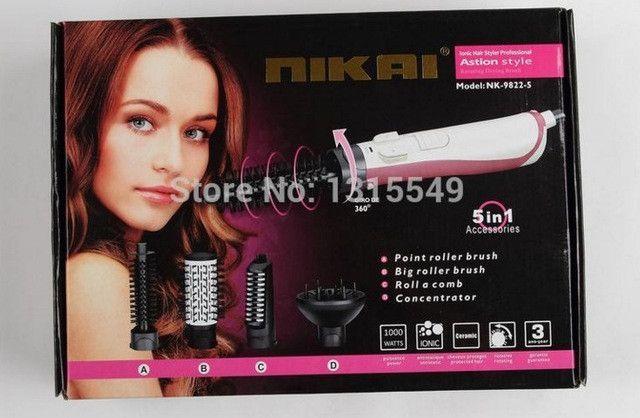 CHJ Hair Dryer Brush Rotating Hair Dryer Automatic Hair Brush Dryer Multifunctional Ionic Hair Styler Ceramic Only Sliver 220V