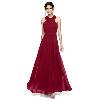 LAN+TING+BRIDE+Floor-length+Halter+Bridesmaid+Dress+-+Open+Back+Sleeveless+Chiffon+–+CHF+₣+104.97