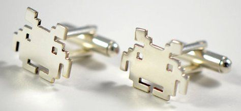 Space Invader Cuff Links :-: One truism about business is that those who wear French cuffed shirts usually have a better chance of success!! Well such shirts need cuff links...and if I am doing business with some sort of galactic overlord...wearing these would surely show that I mean business!!