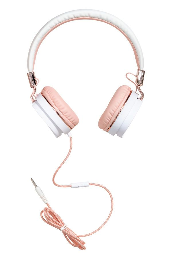 Light Pink White Adjustable On Ear Headphones With Fabric Covered Cord Fits Devices With A 3 5 Mm 1 8 In Socket Headphones Cute Headphones Headphones Art