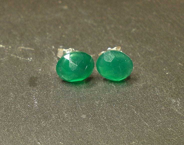 Ohrstecker facettierter grüner Onyx 925 Silber von Mirakel auf DaWanda.com