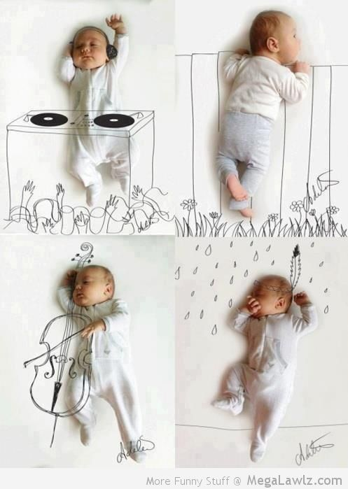 Funny Drawings Around Posing Baby - MegaLawlz.com How funny are these? Awesome for announcements or thank you notes.
