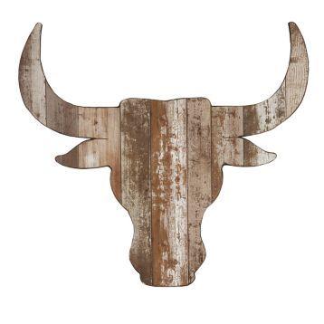 Distressed Steer Head Wooden Plaque | Kirklands