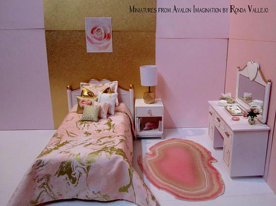 Barbie Blythe furniture bedroom set includes customized bed