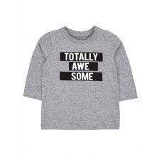 Grijze t-shirt lange mouwen - totally awesome - grey melange nitjeff, De gele springboon, 10euro.