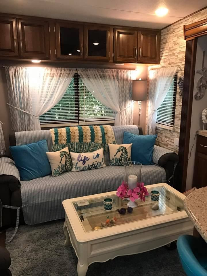 9 Beach Themed Rv Makeovers Trailer Decor Travel Trailer Decor Vintage Camper Remodel #outdoors #themed #living #room