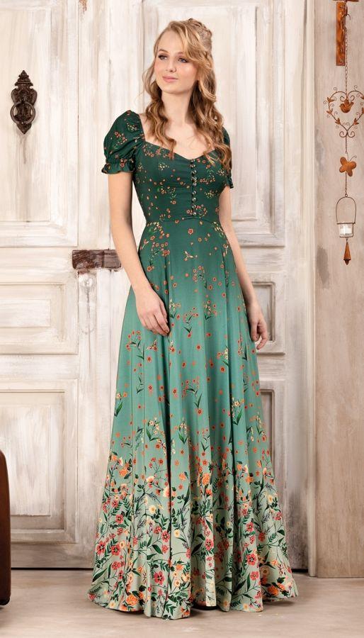 Vestido Longo Pôr do Sol Verde | Antix