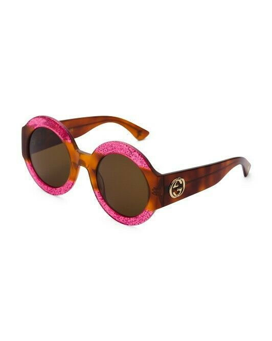 a3309f78829 GUCCI Women Round Sunglasses havana fuschia brown Frame GG0084S 003 Brown  Lense  fashion