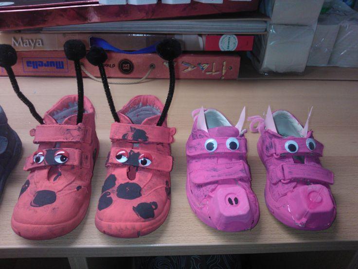 schoenen: varken en lieveheersbeestje