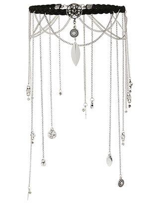 Notre collier ras-du-cou superposé Indira, qui revisite la tendance indispensable des colliers ras-du-cou de manière spectaculaire, vous fera un style digne ...
