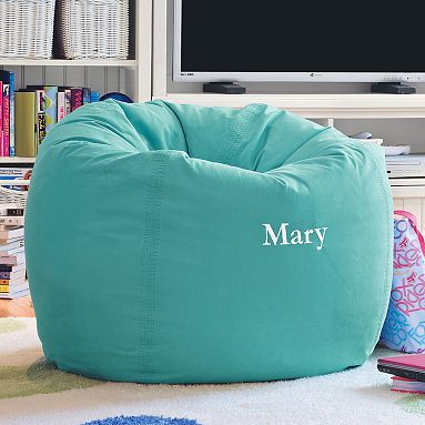 Sitting Room or bunk room? Pool Washed Twill Large Beanbag #pbteen
