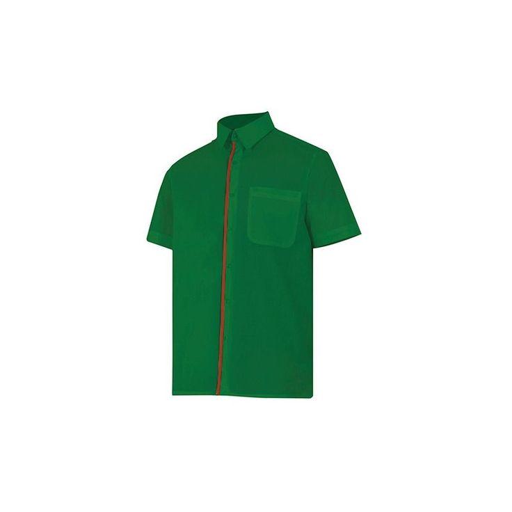 Chemise de service bicolore manches courtes homme 65% polyester 35% coton 104 gr/m2 – Beige/Vert Chasseur – P531 – Velilla – taille: 3XL
