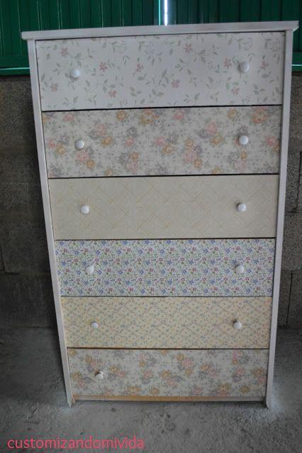 """Mueble customizado con papeles adhesivos decorativos para la """"oficina""""   http://customizandomivida.blogspot.com.es/2015/06/segundasopotunidades-mueble-customizado.html#more"""