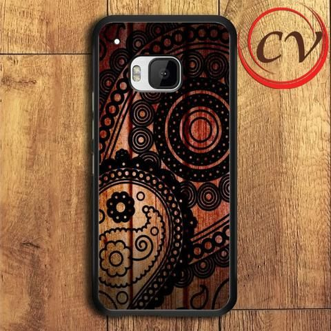Wood Circle HTC One M9 Black Case