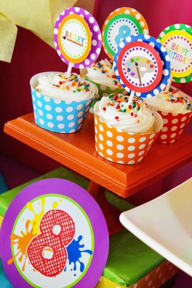 Art themed 8th birthday party via Kara's Party Ideas KarasPartyIdeas.com Printables, cake, decor, cupcakes, desserts, invitation, etc! #artparty #paintingparty #karaspartyideas (26)