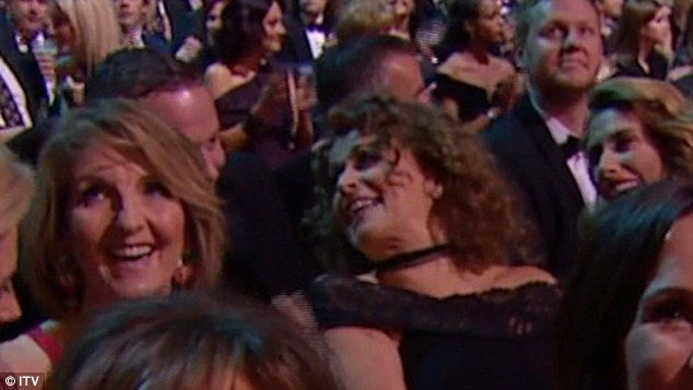 Oops! Nadia Sawalha was caught swearing as This Morning beat her programme Loose Women in theBest Live Magazine Show category at Wednesday's National Television Awards