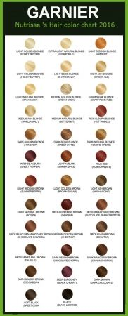 Garnier hair color chart