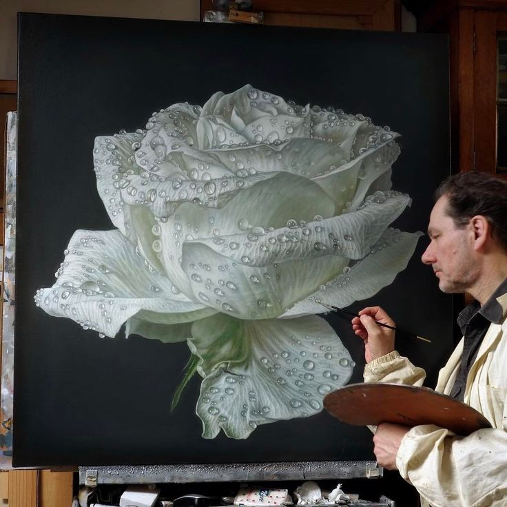 Realistic Paintings of Flowers and Roses. By Gioacchino Passini.
