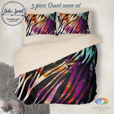 Animal print bedding, multicolor paint brush duvet bedding set, Chic duvet cover set, Hippie bedroom, artbedding