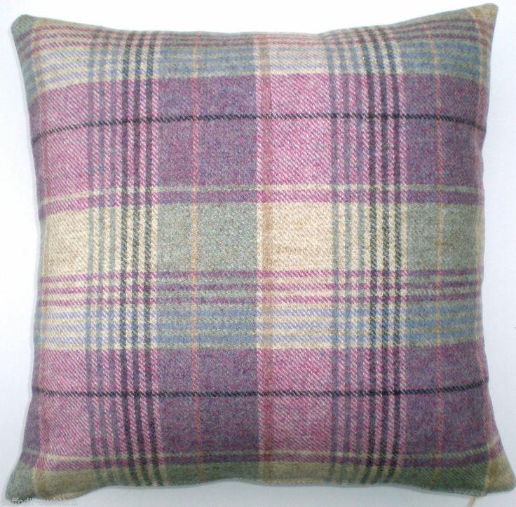 "Cushion Cover  - Wool Tartan. Kincraig Heather fabric from Moon, both sides.16"""
